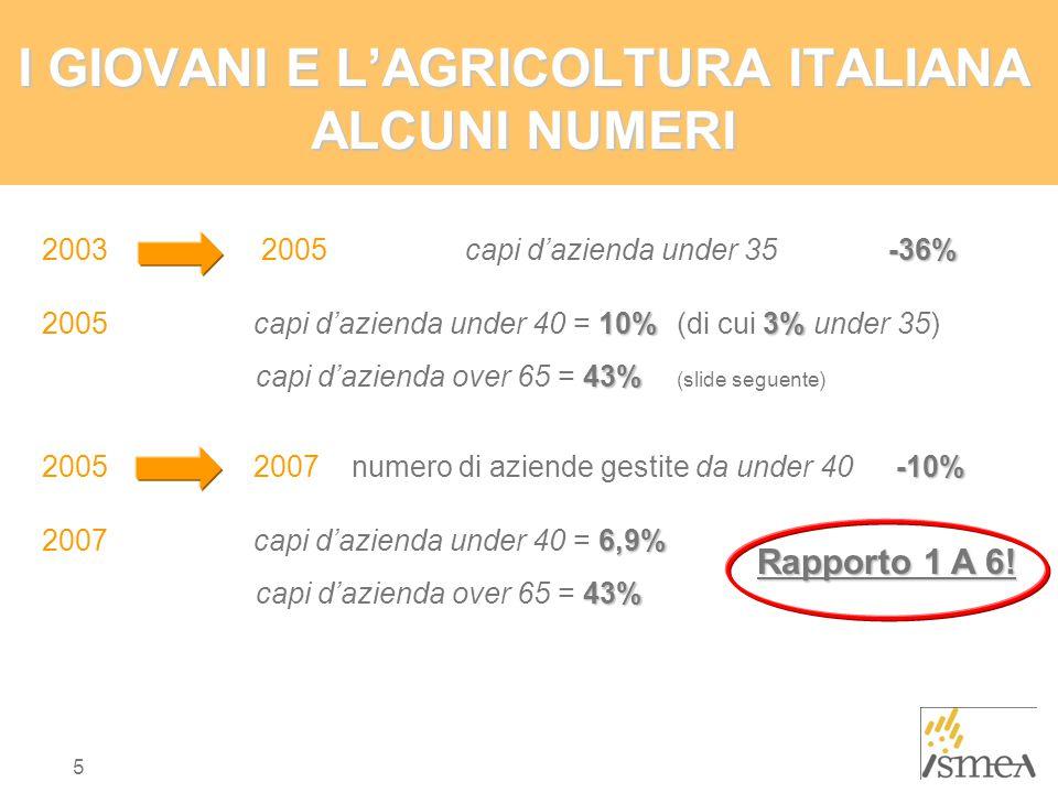 5 I GIOVANI E L'AGRICOLTURA ITALIANA ALCUNI NUMERI -36% 2003 2005 capi d'azienda under 35 -36% 10%3% 2005 capi d'azienda under 40 = 10% (di cui 3% under 35) 43% capi d'azienda over 65 = 43% (slide seguente) -10% 20052007 numero di aziende gestite da under 40 -10% 6,9% 2007 capi d'azienda under 40 = 6,9% 43% capi d'azienda over 65 = 43% Rapporto 1 A 6!