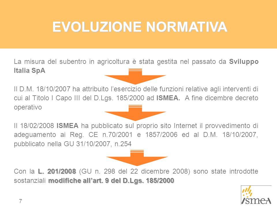 7 EVOLUZIONE NORMATIVA La misura del subentro in agricoltura è stata gestita nel passato da Sviluppo Italia SpA Il D.M.