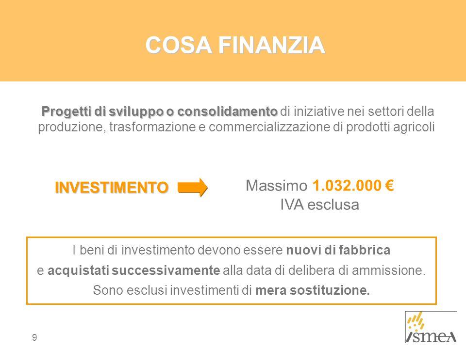 9 COSA FINANZIA I beni di investimento devono essere nuovi di fabbrica e acquistati successivamente alla data di delibera di ammissione.