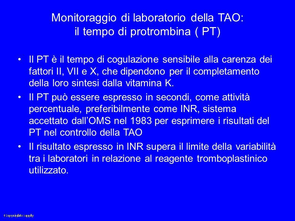 Monitoraggio di laboratorio della TAO: il tempo di protrombina ( PT) Il PT è il tempo di cogulazione sensibile alla carenza dei fattori II, VII e X, c