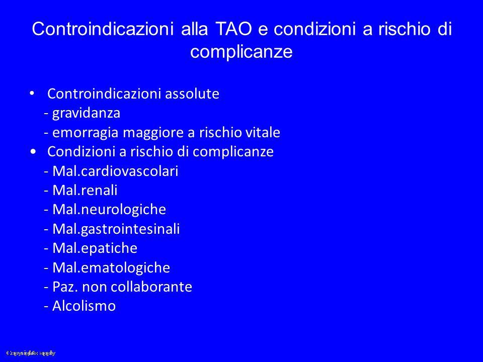 Controindicazioni alla TAO e condizioni a rischio di complicanze Controindicazioni assolute - gravidanza - emorragia maggiore a rischio vitale Condizi