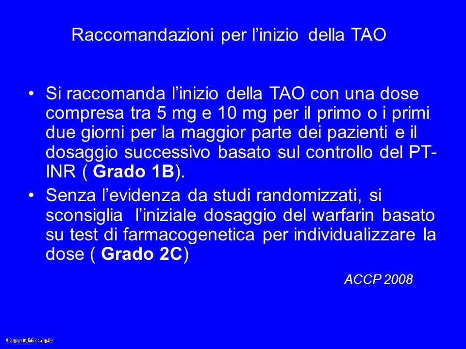 Raccomandazioni per l'inizio della TAO Si raccomanda l'inizio della TAO con una dose compresa tra 5 mg e 10 mg per il primo o i primi due giorni per l