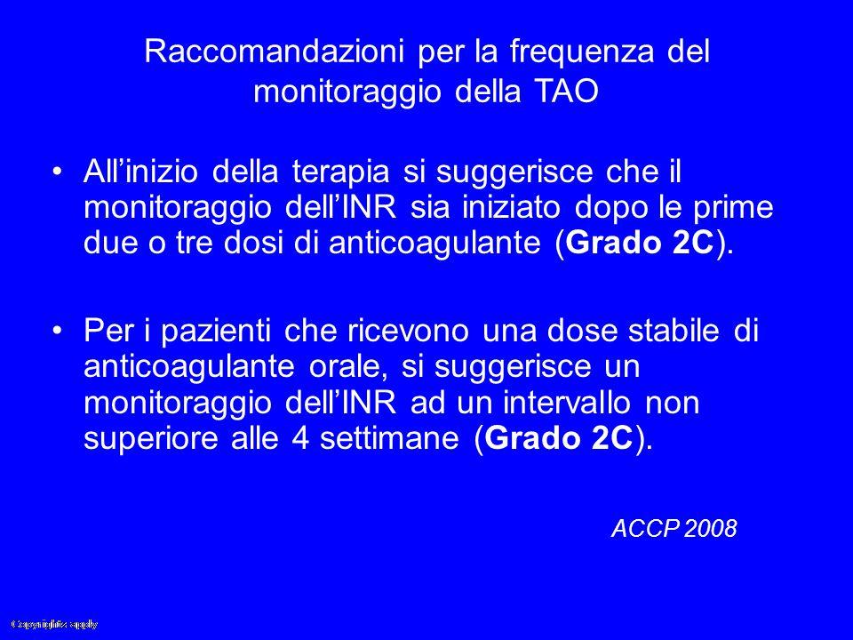 Raccomandazioni per la frequenza del monitoraggio della TAO All'inizio della terapia si suggerisce che il monitoraggio dell'INR sia iniziato dopo le p