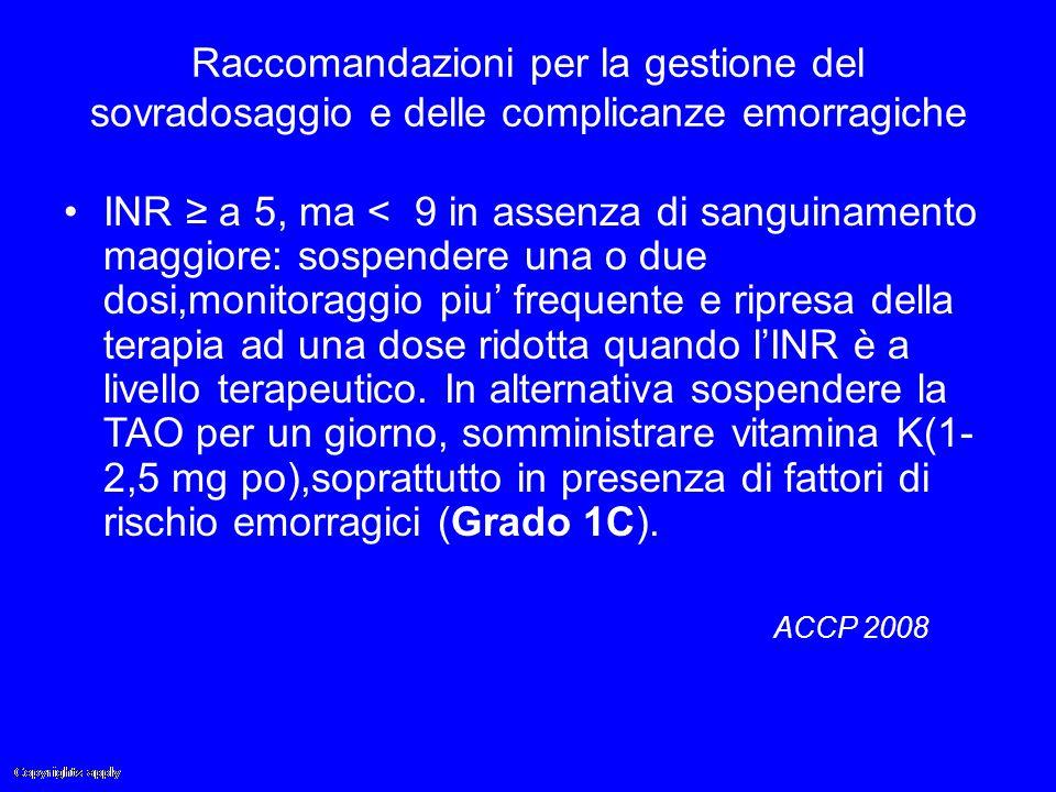 Raccomandazioni per la gestione del sovradosaggio e delle complicanze emorragiche INR ≥ a 5, ma < 9 in assenza di sanguinamento maggiore: sospendere u