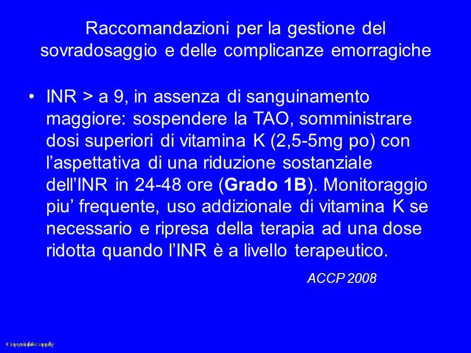 Raccomandazioni per la gestione del sovradosaggio e delle complicanze emorragiche INR > a 9, in assenza di sanguinamento maggiore: sospendere la TAO,