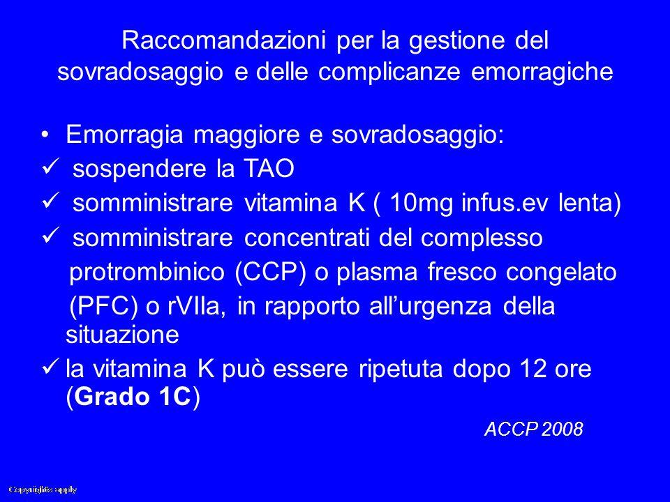 Raccomandazioni per la gestione del sovradosaggio e delle complicanze emorragiche Emorragia maggiore e sovradosaggio: sospendere la TAO somministrare