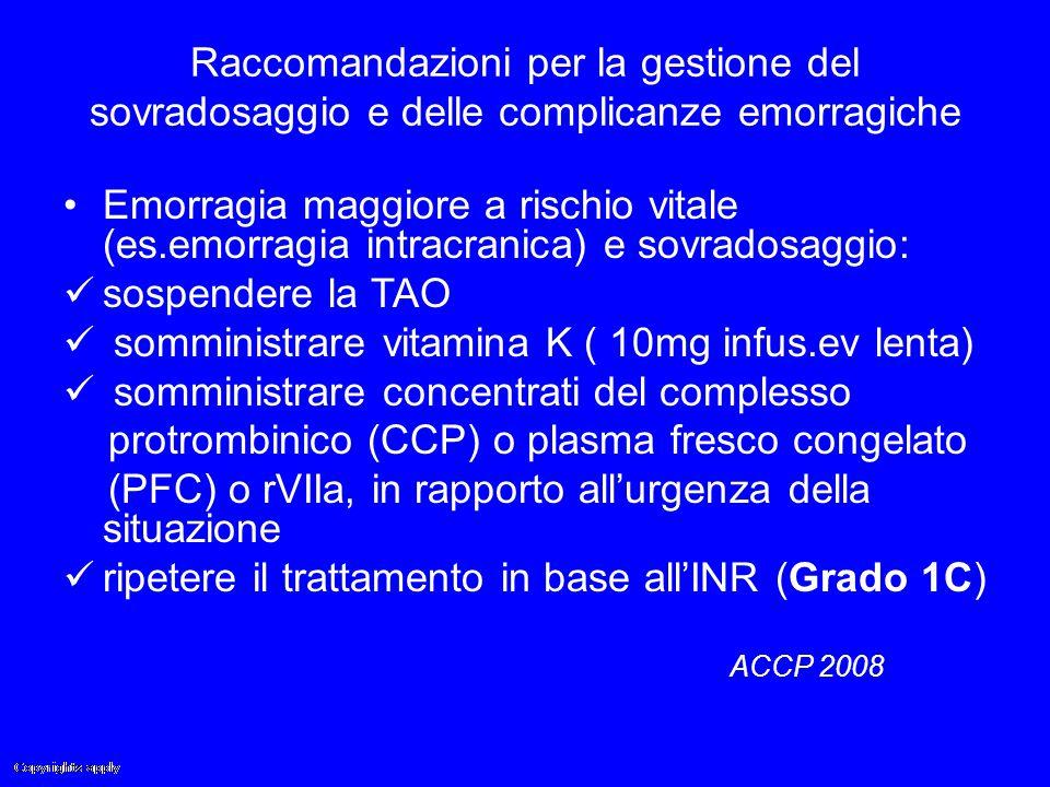 Raccomandazioni per la gestione del sovradosaggio e delle complicanze emorragiche Emorragia maggiore a rischio vitale (es.emorragia intracranica) e so