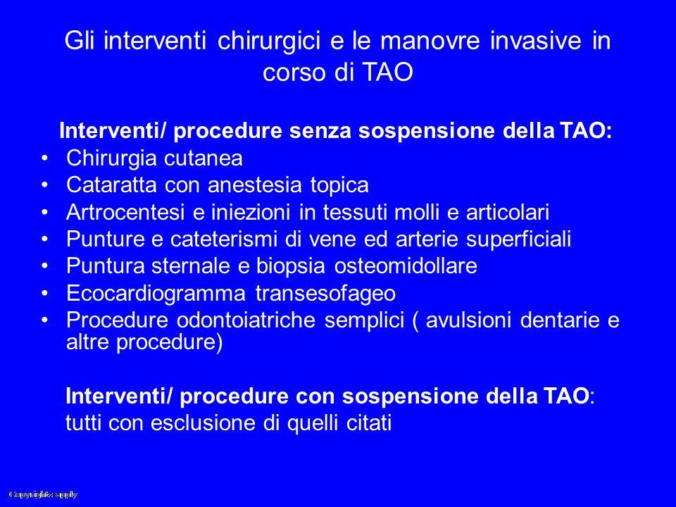 Gli interventi chirurgici e le manovre invasive in corso di TAO Interventi/ procedure senza sospensione della TAO: Chirurgia cutanea Cataratta con ane