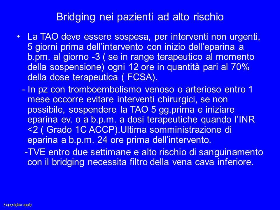 Bridging nei pazienti ad alto rischio La TAO deve essere sospesa, per interventi non urgenti, 5 giorni prima dell'intervento con inizio dell'eparina a
