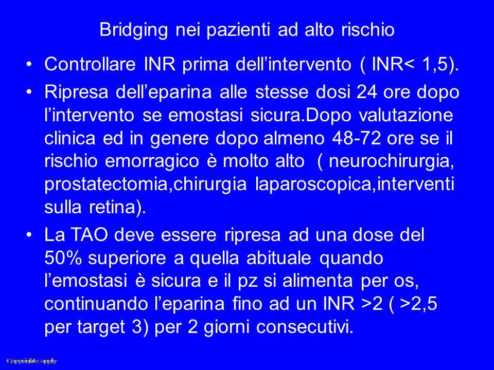 Bridging nei pazienti ad alto rischio Controllare INR prima dell'intervento ( INR< 1,5). Ripresa dell'eparina alle stesse dosi 24 ore dopo l'intervent