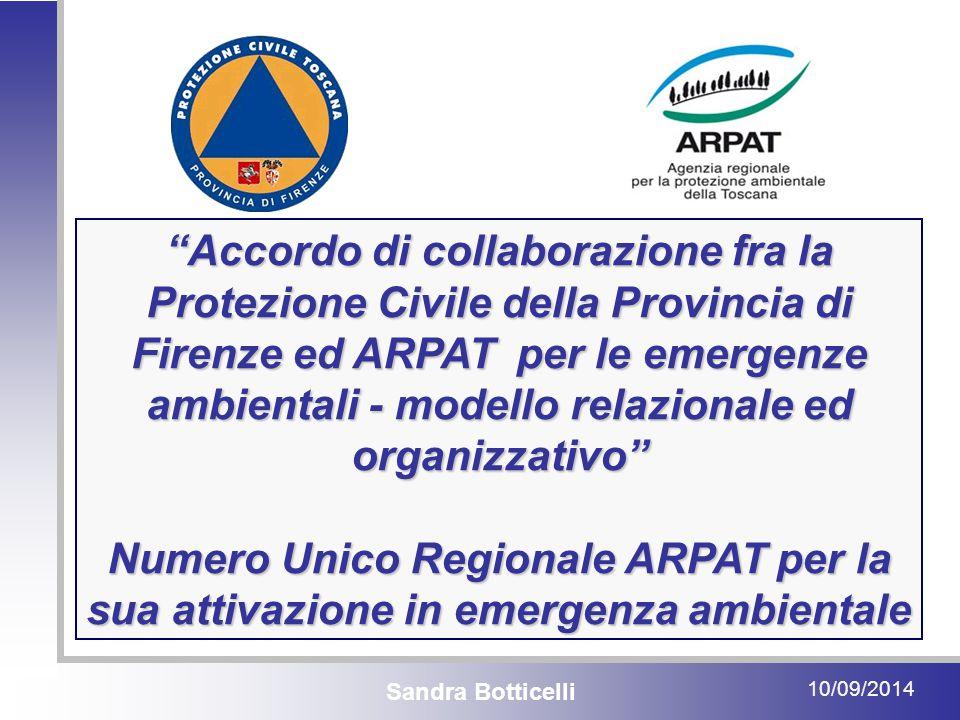 Sandra Botticelli 10/09/2014 Accordo di collaborazione fra la Protezione Civile della Provincia di Firenze ed ARPAT per le emergenze ambientali - modello relazionale ed organizzativo Numero Unico Regionale ARPAT per la sua attivazione in emergenza ambientale