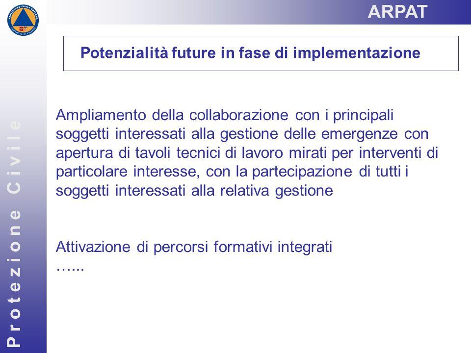 P r o t e z i o n e C i v i l e Potenzialità future in fase di implementazione Ampliamento della collaborazione con i principali soggetti interessati