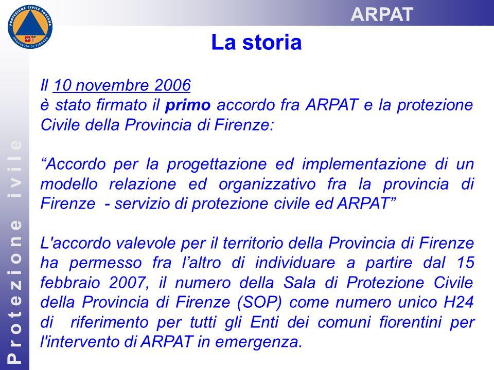 P r o t e z i o n e i v i l e La storia Il 10 novembre 2006 è stato firmato il primo accordo fra ARPAT e la protezione Civile della Provincia di Firen