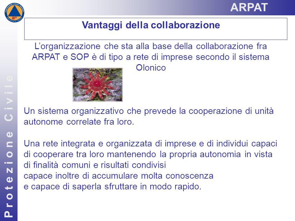 Vantaggi della collaborazione P r o t e z i o n e C i v i l e L'organizzazione che sta alla base della collaborazione fra ARPAT e SOP è di tipo a rete