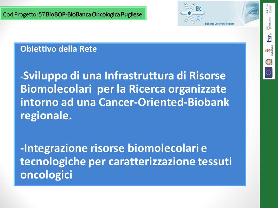 Obiettivo della Rete - Sviluppo di una Infrastruttura di Risorse Biomolecolari per la Ricerca organizzate intorno ad una Cancer-Oriented-Biobank regionale.