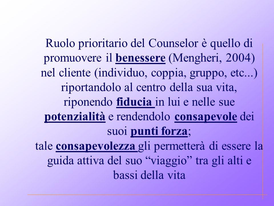 Ruolo prioritario del Counselor è quello di promuovere il benessere (Mengheri, 2004) nel cliente (individuo, coppia, gruppo, etc...) riportandolo al centro della sua vita, riponendo fiducia in lui e nelle sue potenzialità e rendendolo consapevole dei suoi punti forza; tale consapevolezza gli permetterà di essere la guida attiva del suo viaggio tra gli alti e bassi della vita