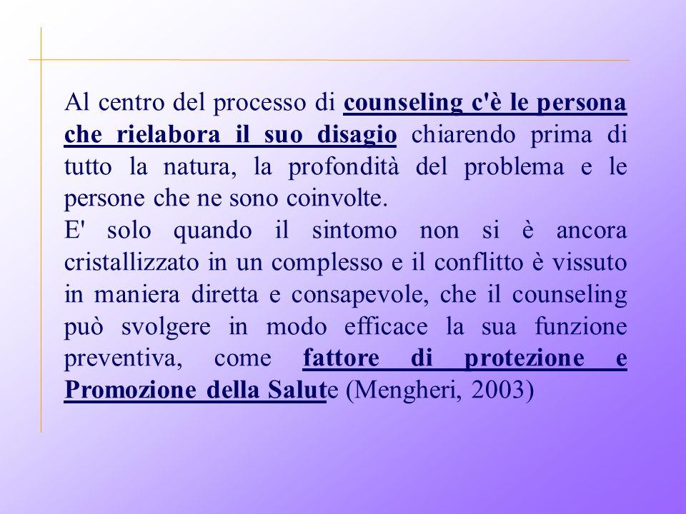 Al centro del processo di counseling c è le persona che rielabora il suo disagio chiarendo prima di tutto la natura, la profondità del problema e le persone che ne sono coinvolte.