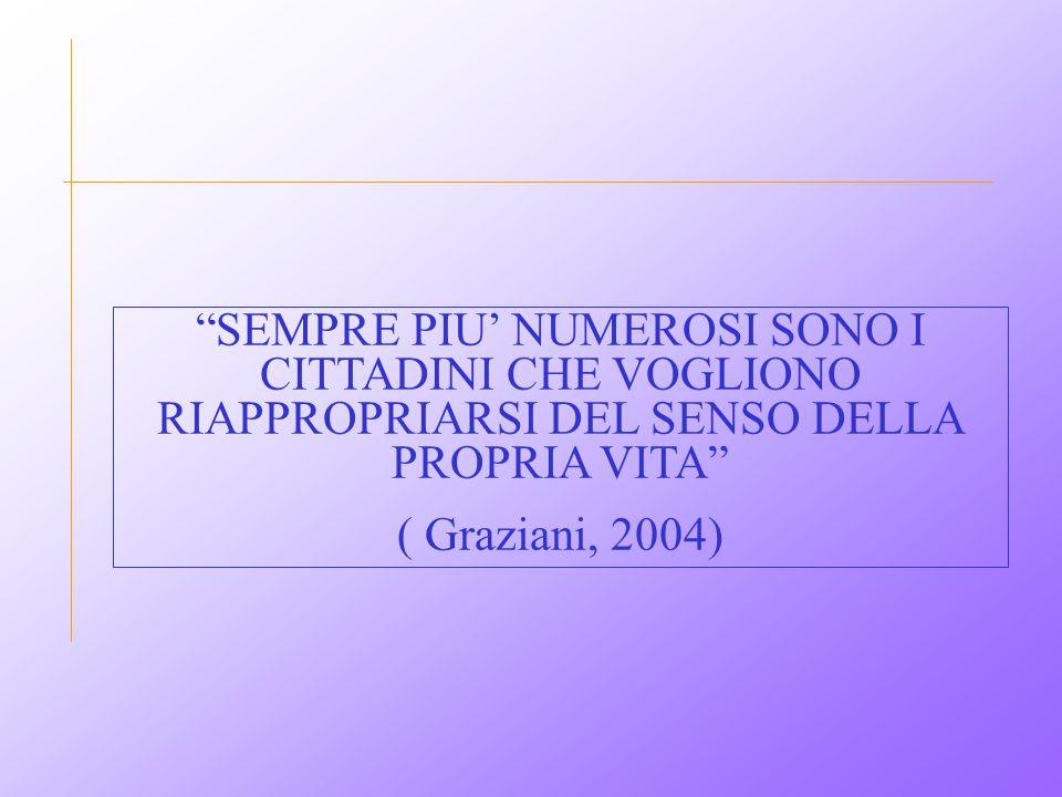 """""""SEMPRE PIU' NUMEROSI SONO I CITTADINI CHE VOGLIONO RIAPPROPRIARSI DEL SENSO DELLA PROPRIA VITA"""" ( Graziani, 2004)"""