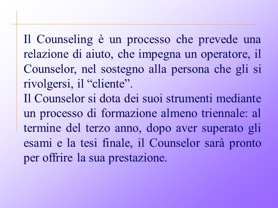Il Counseling è un processo che prevede una relazione di aiuto, che impegna un operatore, il Counselor, nel sostegno alla persona che gli si rivolgersi, il cliente .