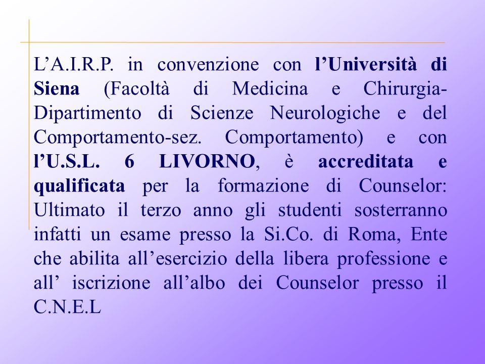L'A.I.R.P. in convenzione con l'Università di Siena (Facoltà di Medicina e Chirurgia- Dipartimento di Scienze Neurologiche e del Comportamento-sez. Co