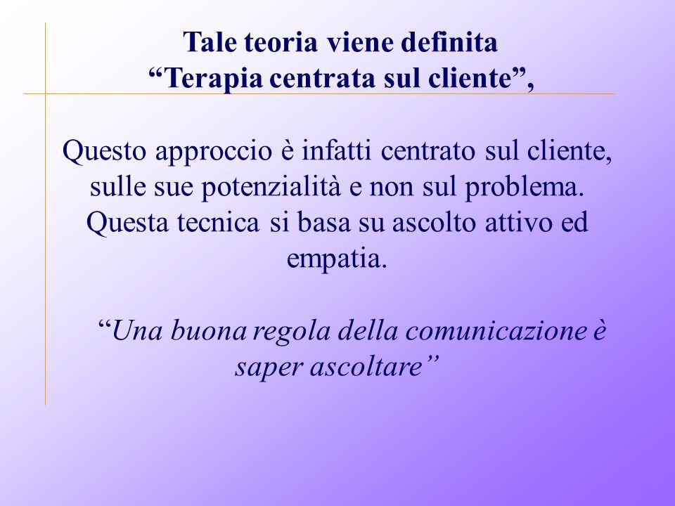 Tale teoria viene definita Terapia centrata sul cliente , Questo approccio è infatti centrato sul cliente, sulle sue potenzialità e non sul problema.