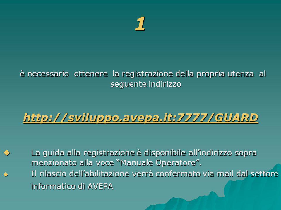 1 è necessario ottenere la registrazione della propria utenza al seguente indirizzo è necessario ottenere la registrazione della propria utenza al seguente indirizzo http://sviluppo.avepa.it:7777/GUARD  La guida alla registrazione è disponibile all'indirizzo sopra menzionato alla voce Manuale Operatore .