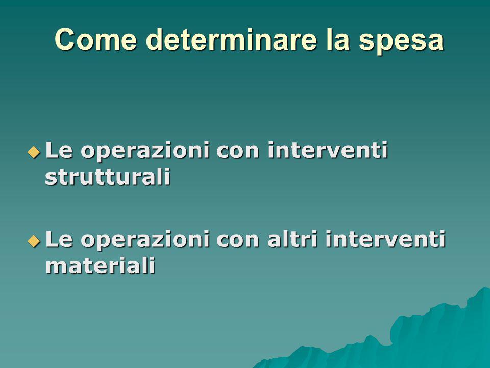  Le operazioni con interventi strutturali  Le operazioni con altri interventi materiali Come determinare la spesa