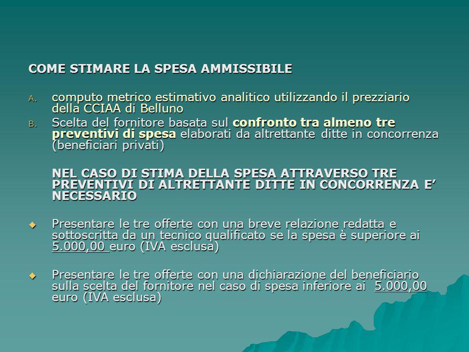 COME STIMARE LA SPESA AMMISSIBILE A.