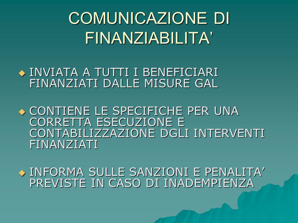 COMUNICAZIONE DI FINANZIABILITA'  INVIATA A TUTTI I BENEFICIARI FINANZIATI DALLE MISURE GAL  CONTIENE LE SPECIFICHE PER UNA CORRETTA ESECUZIONE E CONTABILIZZAZIONE DGLI INTERVENTI FINANZIATI  INFORMA SULLE SANZIONI E PENALITA' PREVISTE IN CASO DI INADEMPIENZA