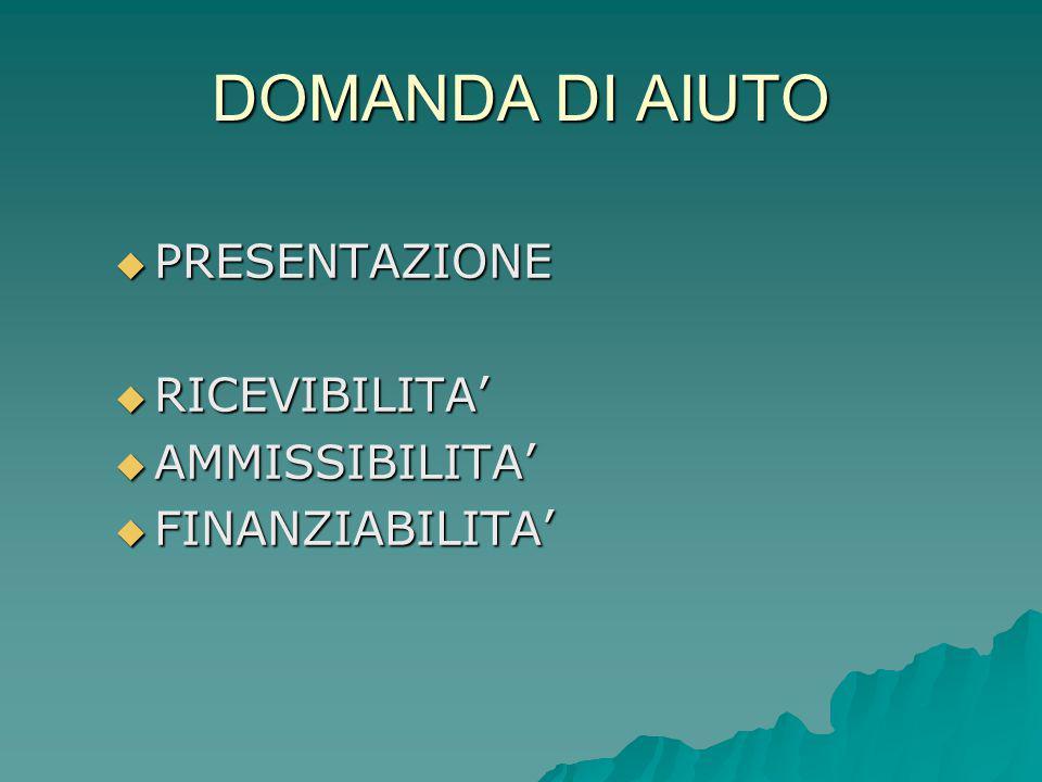 DOMANDA DI AIUTO  PRESENTAZIONE  RICEVIBILITA'  AMMISSIBILITA'  FINANZIABILITA'