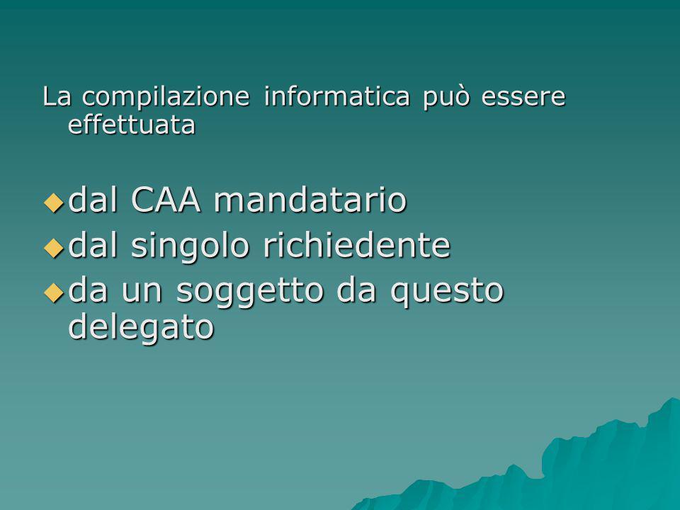 La compilazione informatica può essere effettuata  dal CAA mandatario  dal singolo richiedente  da un soggetto da questo delegato