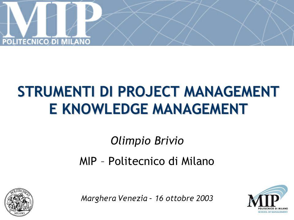 STRUMENTI DI PROJECT MANAGEMENT E KNOWLEDGE MANAGEMENT Olimpio Brivio MIP – Politecnico di Milano Marghera Venezia – 16 ottobre 2003