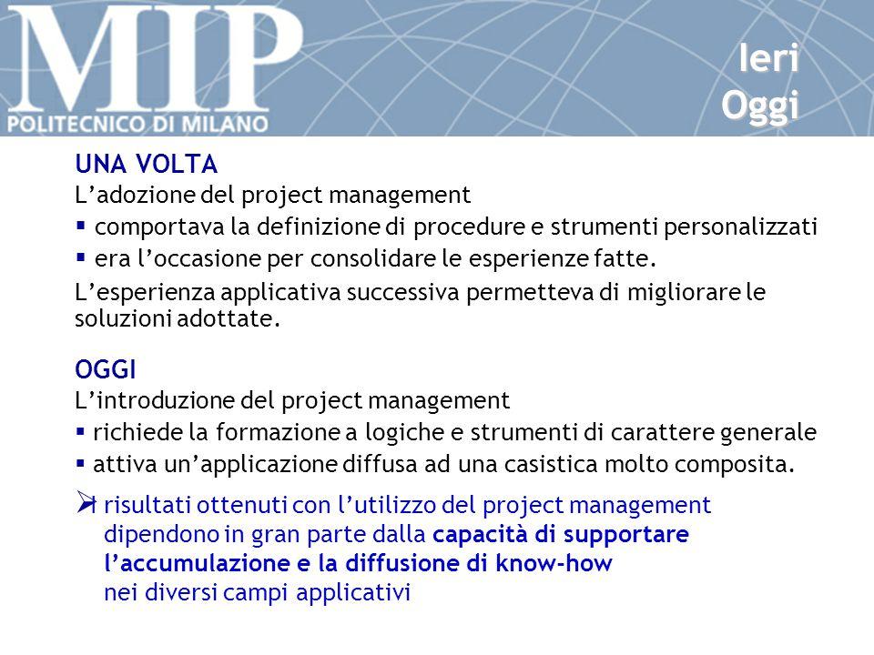 Ieri Oggi UNA VOLTA L'adozione del project management  comportava la definizione di procedure e strumenti personalizzati  era l'occasione per consolidare le esperienze fatte.