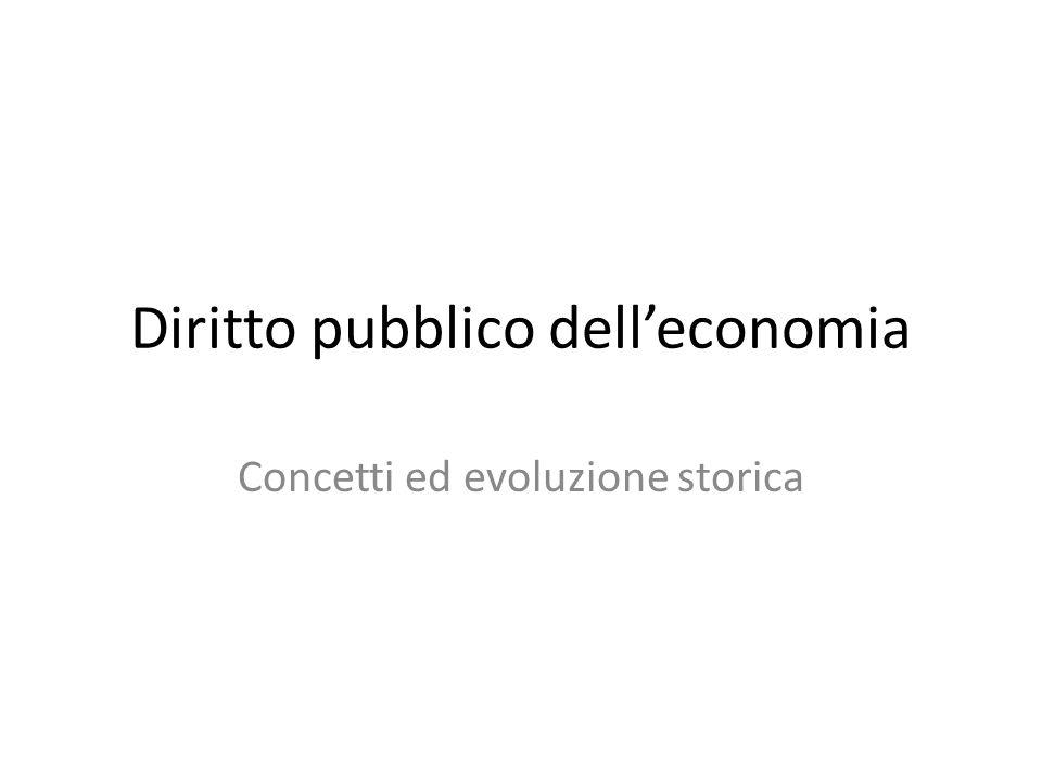 Diritto pubblico dell'economia Concetti ed evoluzione storica