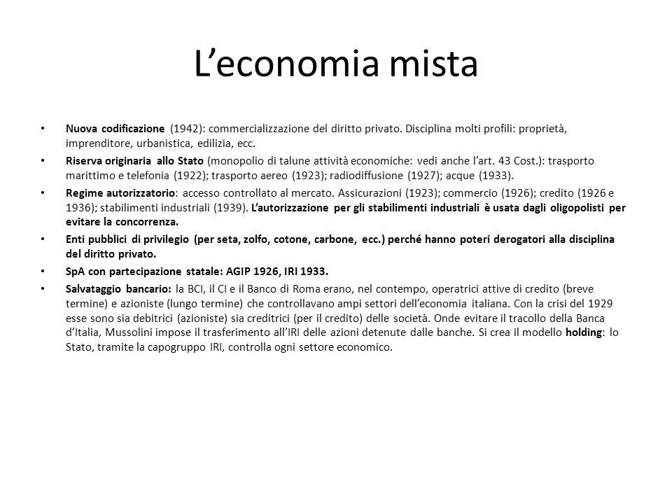 L'economia mista Nuova codificazione (1942): commercializzazione del diritto privato. Disciplina molti profili: proprietà, imprenditore, urbanistica,