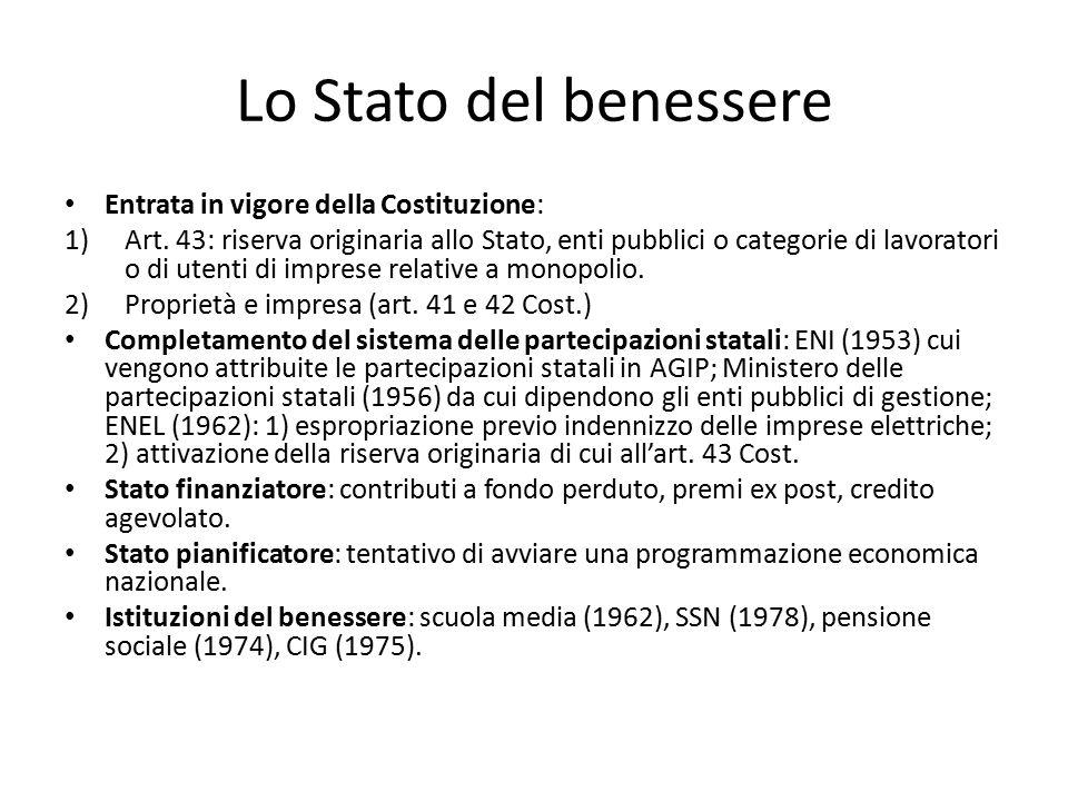 Lo Stato del benessere Entrata in vigore della Costituzione: 1)Art. 43: riserva originaria allo Stato, enti pubblici o categorie di lavoratori o di ut
