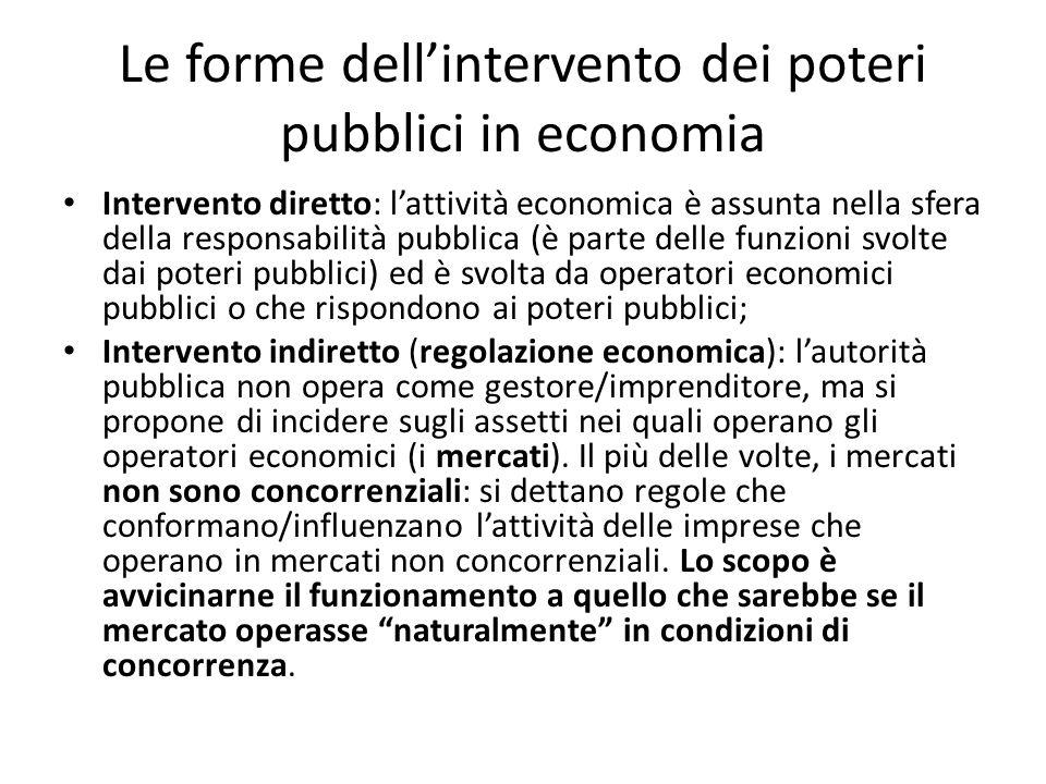 Le forme dell'intervento dei poteri pubblici in economia Intervento diretto: l'attività economica è assunta nella sfera della responsabilità pubblica