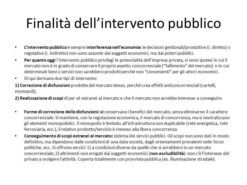 Finalità dell'intervento pubblico L'intervento pubblico è sempre interferenza nell'economia: le decisioni gestionali/produttive (i. diretto) o regolat