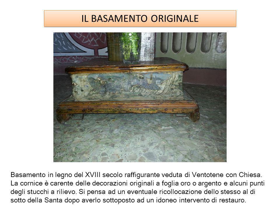 IL BASAMENTO ORIGINALE Basamento in legno del XVIII secolo raffigurante veduta di Ventotene con Chiesa.