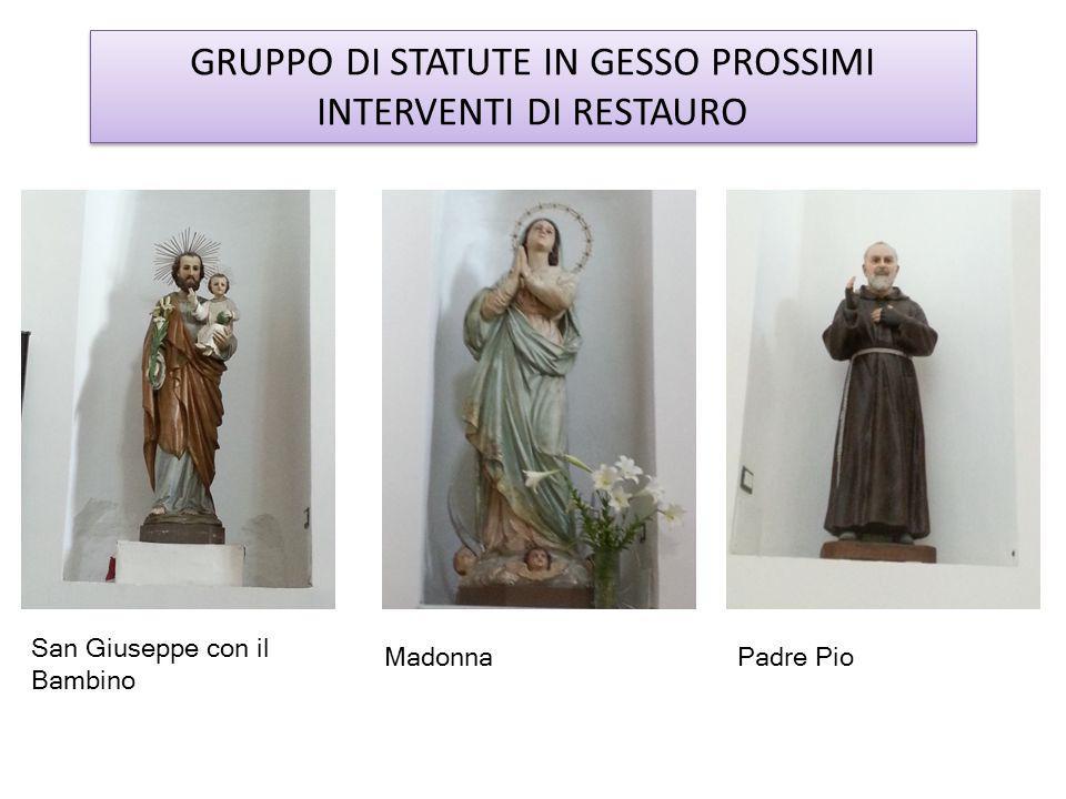 GRUPPO DI STATUTE IN GESSO PROSSIMI INTERVENTI DI RESTAURO Padre Pio San Giuseppe con il Bambino Madonna