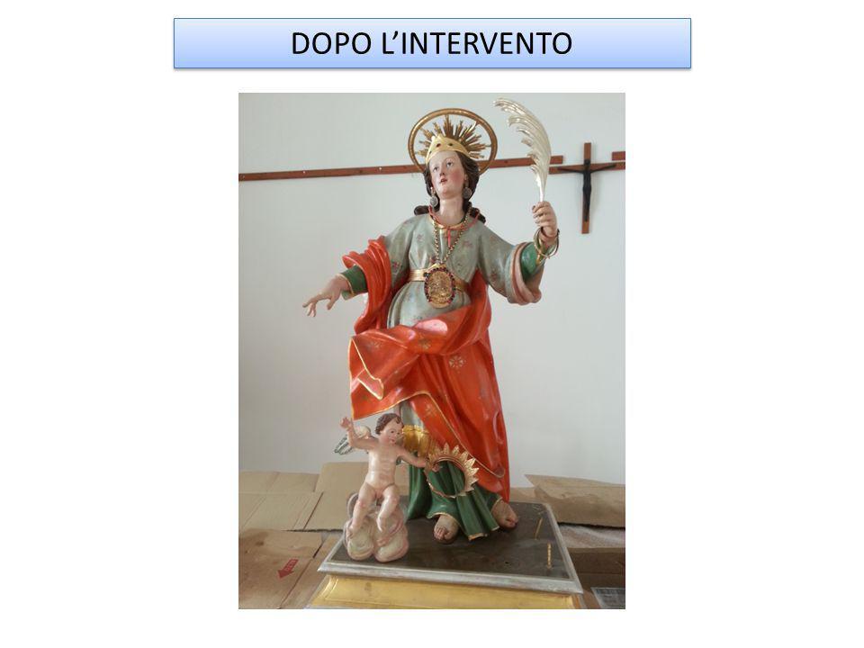 STATUA DI SANT' ORSOLA Veduta d'insieme dell'opera prima dell'intervento di restauro.