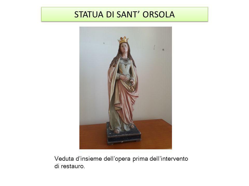 La statua è in cartapesta e legno risalente probabilmente alla fine del XIX secolo.