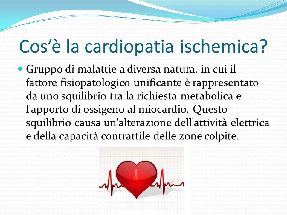 Cos'è la cardiopatia ischemica? Gruppo di malattie a diversa natura, in cui il fattore fisiopatologico unificante è rappresentato da uno squilibrio tr