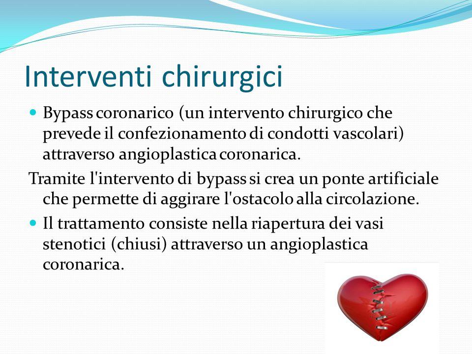 Interventi chirurgici Bypass coronarico (un intervento chirurgico che prevede il confezionamento di condotti vascolari) attraverso angioplastica coron