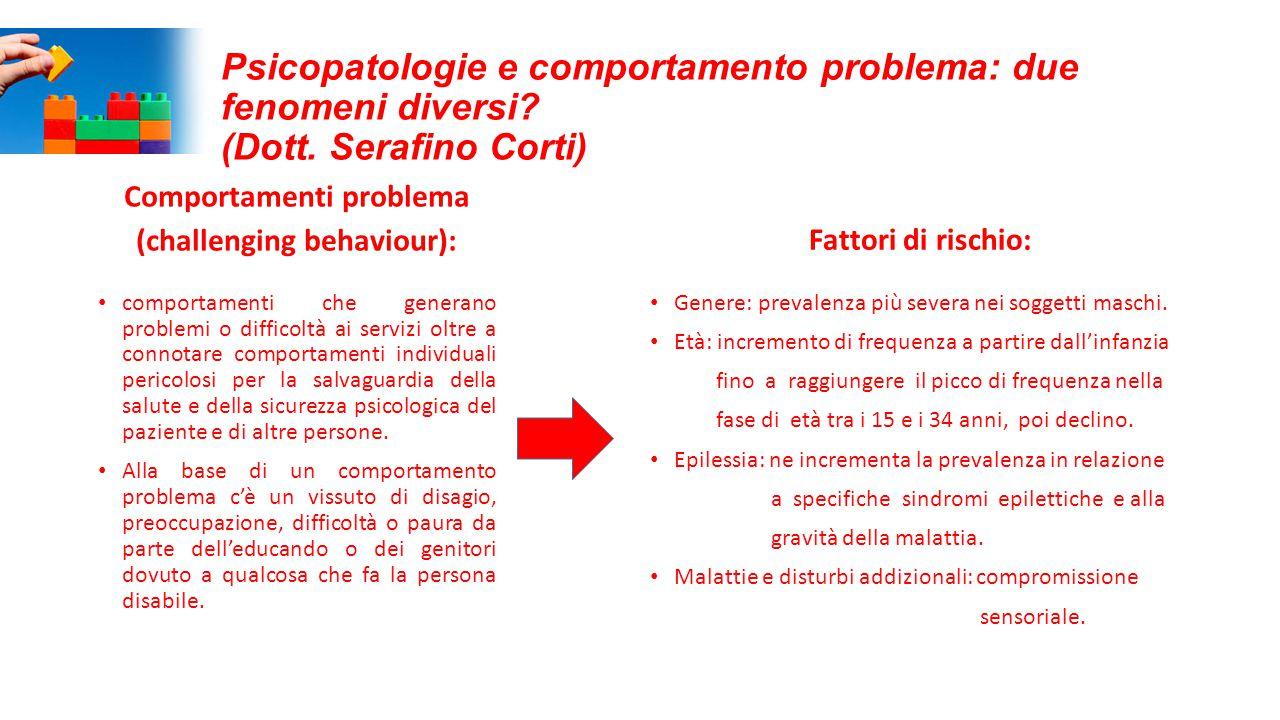 Psicopatologie e comportamento problema: due fenomeni diversi? (Dott. Serafino Corti) Comportamenti problema (challenging behaviour): comportamenti ch