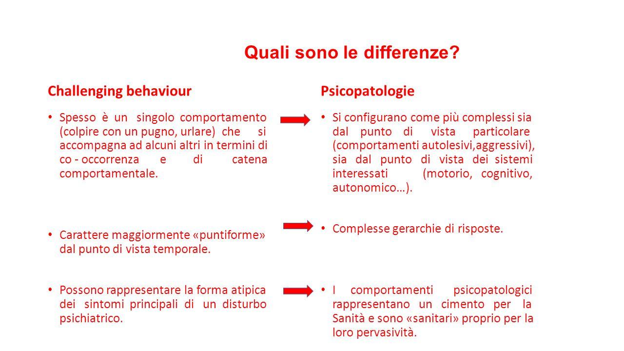 Quali sono le differenze? Challenging behaviour Spesso è un singolo comportamento (colpire con un pugno, urlare) che si accompagna ad alcuni altri in