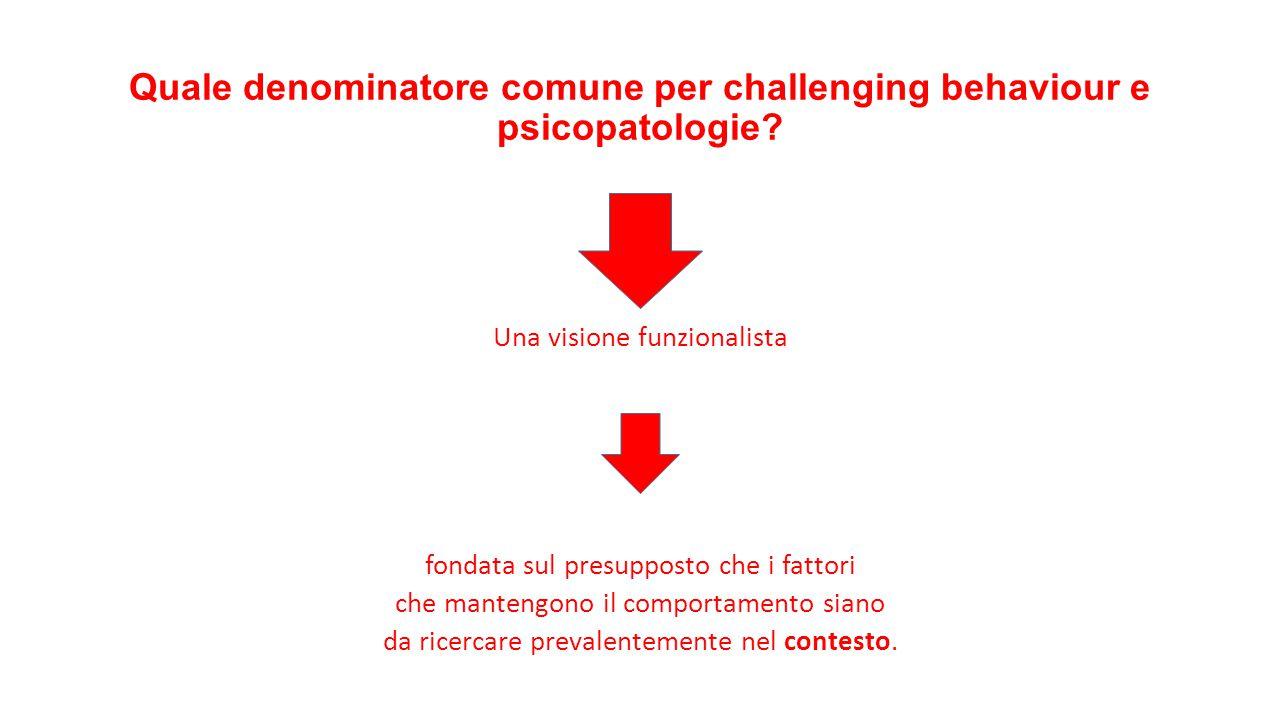 Quale denominatore comune per challenging behaviour e psicopatologie? Una visione funzionalista fondata sul presupposto che i fattori che mantengono i