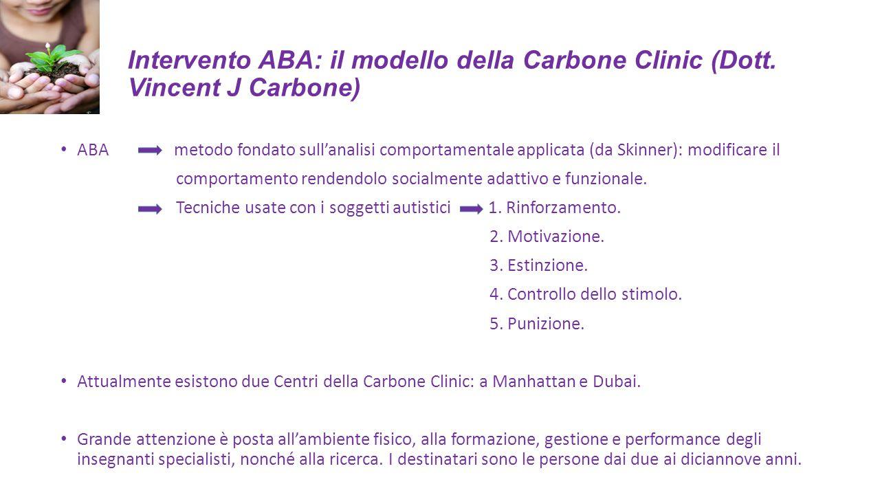 Intervento ABA: il modello della Carbone Clinic (Dott. Vincent J Carbone) ABA metodo fondato sull'analisi comportamentale applicata (da Skinner): modi