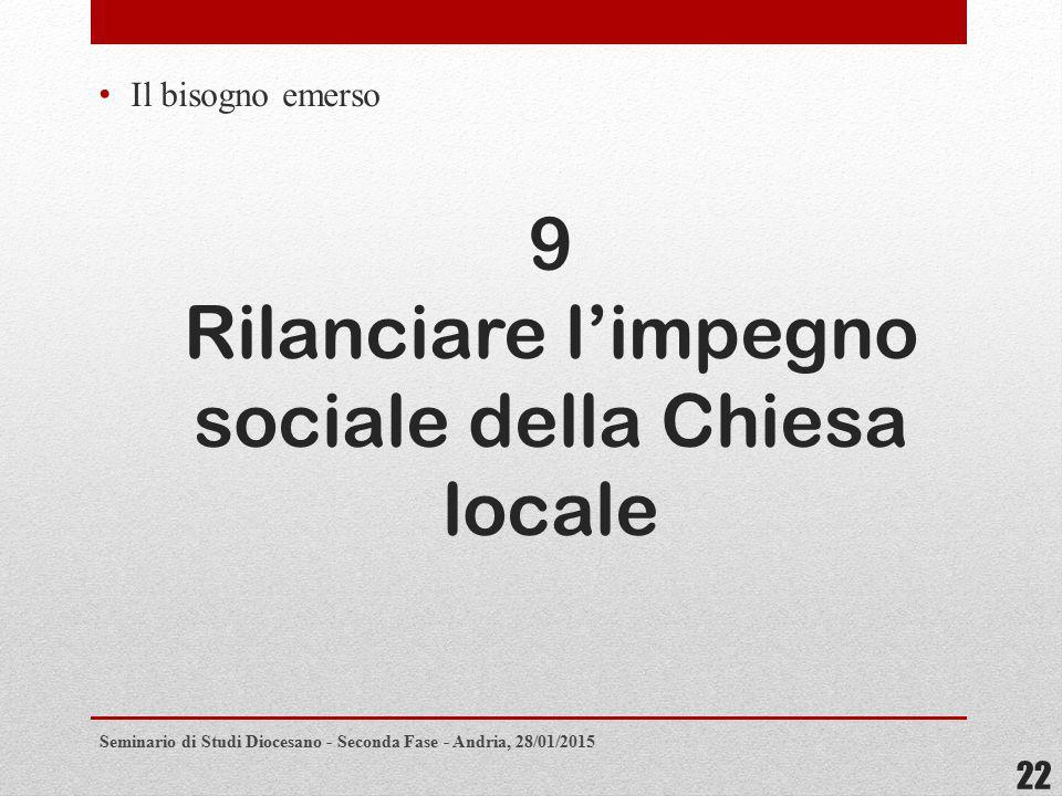 9 Rilanciare l'impegno sociale della Chiesa locale Il bisogno emerso Seminario di Studi Diocesano - Seconda Fase - Andria, 28/01/2015 22