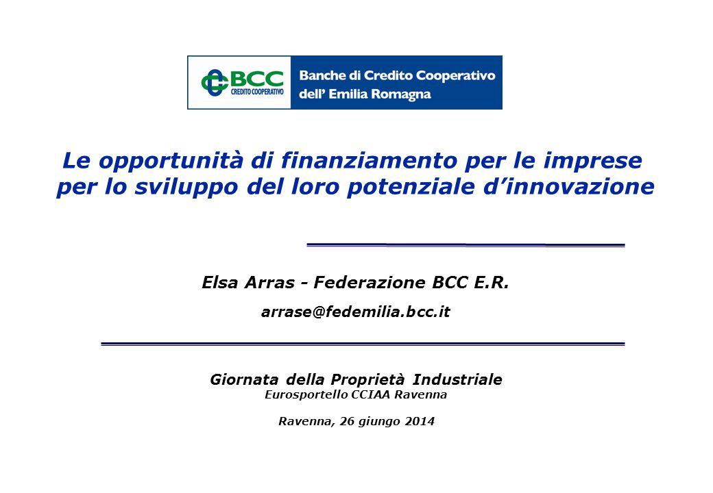 Giornata della Proprietà Industriale Eurosportello CCIAA Ravenna Ravenna, 26 giungo 2014 Elsa Arras - Federazione BCC E.R. arrase@fedemilia.bcc.it Le